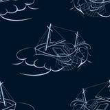 A fishing ship. Seamless background Stock Photo