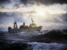 Fishing ship in strong storm. Royalty Free Stock Photo
