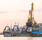 The fishing ships on a decline on a pier on Kamchatka Royalty Free Stock Photos
