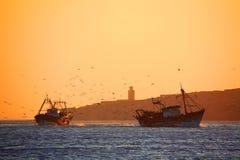 Fishing ships in Essaouira. Fishing ships at sunset in Essaouira, Atlantic Ocean, Morocco, Africa Stock Image