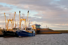 Fishing ships at harbor, Den Oever, Netherlands Royalty Free Stock Images
