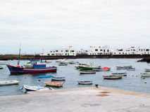 Fishing ships in harbour. Lanzarote Canary Island Royalty Free Stock Images