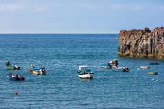 Fishing ships near Camara do Lobos at Madeira Island Royalty Free Stock Photography