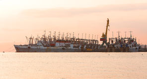 The fishing ships on a pier on Kamchatka Royalty Free Stock Photography