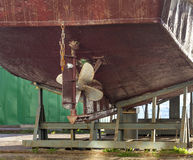 The fishing ships on shipyard on Kamchatka Stock Photography