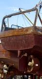 The fishing ships on shipyard on Kamchatka Stock Image