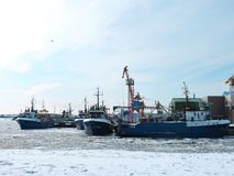 Klaipeda port in winter, Lithuania Royalty Free Stock Image