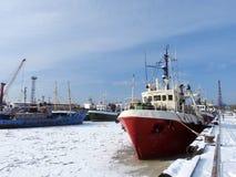 Klaipeda port in winter, Lithuania Stock Photo