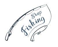 Fishing shop. Handwritten text. Vector illustration Angling stock illustration