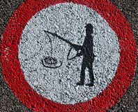 Fishing Sign. A fishing signage on a road in Switzerland Royalty Free Stock Image