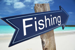 FISHING  sign. On the beach Stock Photo
