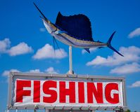 Fishing Sign with Sailfish stock images