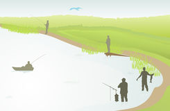 Fishing silhouette Royalty Free Stock Photos