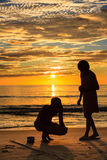 Fishing silhouette. On Lang Co beach, Hue, Vietnam Stock Photo