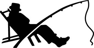 Free Fishing Silhouette Man Rod Stock Images - 85851554