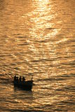 Fishing silhouette at sunrise Royalty Free Stock Photo
