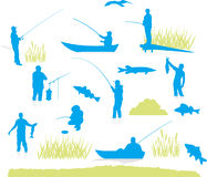 Fishing silhouette (vector) Royalty Free Stock Image
