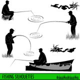 Fishing silhouettes Royalty Free Stock Photo