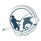 Fishing silhouettes with a fishing rod. Fishing silhouette of a fisherman and a fishing rod Royalty Free Stock Photography