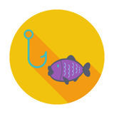 Fishing. Single flat color icon. Vector illustration Stock Image