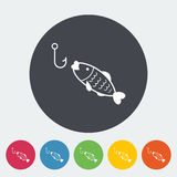 Fishing. Single flat icon on the circle. Vector illustration Stock Photos
