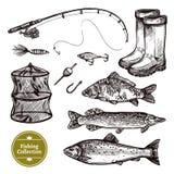 Fishing Sketch Set stock illustration