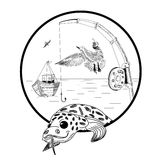 Fishing sketch. Vector illustration. Fishing sketch. Burbot, seagulls, fishing rod, boat on sea or lake in circle Royalty Free Stock Images
