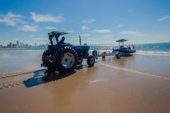 Fishing Ski-Boat Beach Tractor Stock Photography