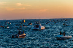 Fishing Ski-Boats Waiting Contest Royalty Free Stock Images