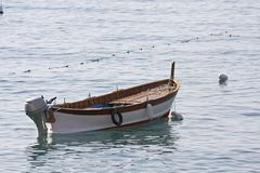 Fishing Skiff. A fishing skiff moored in calm water Stock Photography