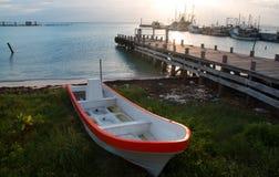 Fishing skiff / ponga near Puerto Juarez Fishing dock in the Cancun Mexico Royalty Free Stock Photo