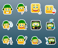Fishing smile stickers set Stock Photography