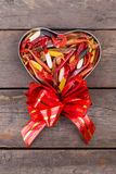 Fishing softbaits in gift box for valentines day Stock Image