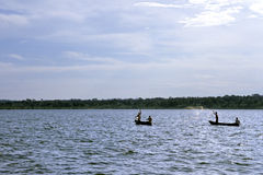 Fishing in source of White Nile River, Uganda Royalty Free Stock Photo