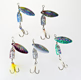Fishing spinner lures Stock Photo