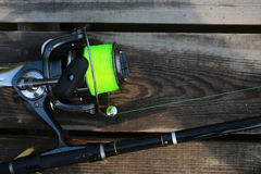 Fishing spinning rod and reel Royalty Free Stock Photo