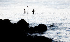 Fishing spinning in the sea Royalty Free Stock Images