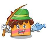 Fishing sponge cake mascot cartoon. Vector illustration Royalty Free Stock Images