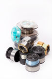 Fishing spools with line for reels Royalty Free Stock Photo