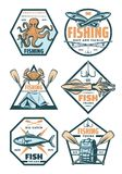 Fishing sport badges and icons with fish and hook. Fishing retro badges with fish and fisherman tackle. Salmon, fishing rod and hook, crab, squid and octopus sea vector illustration
