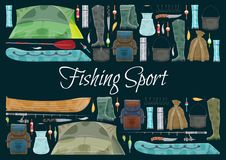 Fishing sport banner with fisher equipment border. Fishing sport banner with fishing equipment border. Fishing rod, hook and bait, fisherman tackle, reel and stock illustration