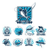 Fishing sport club badge set with fish and boat. Fishing sport club and sea fishing trip badge set. Ocean fish, crab, shrimp, lobster, squid and sea turtle icon Stock Photos