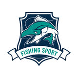 Fishing sport club badge with tuna fish icon. Fishing sport shield symbol. Vector icon of tuna fish, fishing rod, hook bait. Sign for fisherman camp sport club Royalty Free Stock Image