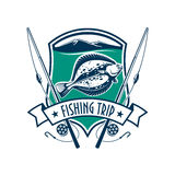 Fishing sport club emblem with fish icon. Fishing emblem with icons of fish, fishing rod. Vector sign for fisherman camp sport club, fishing tour trip with Royalty Free Stock Image