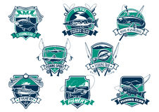 Fishing sport club emblem with trophy fish stock illustration