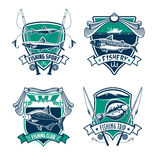 Fishing sport club heraldic badge set design Royalty Free Stock Photos