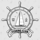 Fishing Sport Club logo with Sailing Ship and Steering Wheel. royalty free illustration
