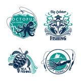 Fishing sport club or trip vector icons set. Fishing trip vector icons of catch and fisher tackle. Emblems of octopus and squid, turtle and lobster. Badges and Stock Photography