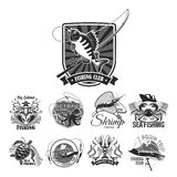 Fishing sport club vector icons set. Fishing club icons of fisher badges for seafood or fish catch of perch, crab, squid or shrimp and octopus. Vector symbols of Royalty Free Stock Photography
