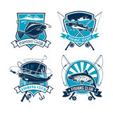 Fishing sport club vector icons set. Fishing vector icons of fisher tackle and fish catch flounder or carp, navaga or sheatfish. Emblems or badges and ribbons Royalty Free Stock Photos